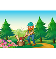 A hardworking woodman chopping the wood near the vector image vector image