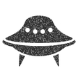 Alien Spaceship Grainy Texture Icon vector image