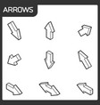 arrows outline isometric icons vector image vector image