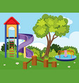 background scene with slide and roundabout in park vector image vector image