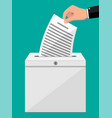 ballot box container with lock full documents vector image