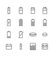 battery flat line icons batteries varieties vector image vector image