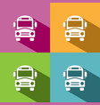 bus school icon with shadow on colored backgrounds vector image vector image