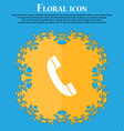 Call icon Floral flat design on a blue abstract vector image vector image