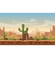Cartoon america prairie desert landscape with vector image vector image