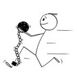 cartoon prisoner or man in chain and iron ball
