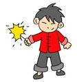 Chinese character of boy with fireworks vector image vector image