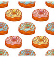colored seamless pattern with doughnuts in hand vector image vector image