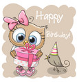 cute owl with gift on a beige background vector image vector image