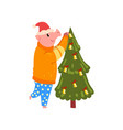 cute pig decorating christmas tree funny piggy vector image vector image
