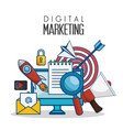digital marketing flat icons vector image vector image