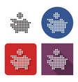 dotted icon piggy bank in four variants vector image
