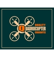 Drone icon Quadrocopter quality guarantee text vector image vector image