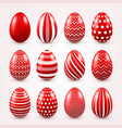 easter eggs red set spring holidays in april vector image