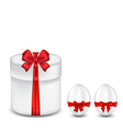 Easter gift box with red bow and eggs vector image