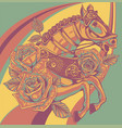 embroidery horse head and wild roses dogrose vector image vector image