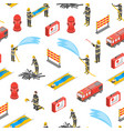 firefighterseamless pattern background 3d vector image vector image