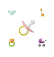flat child set of rattle stroller toy and other vector image vector image