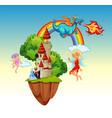 fun fantasy scene background vector image vector image