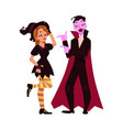 Girl dressed as witch man in vampire costume vector image