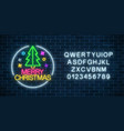 glowing neon christmas sign with christmas tree vector image