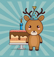 happy birthday card with cute reindeer vector image vector image