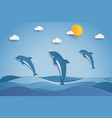 happy dolphins jumping in sea waves paper art vector image vector image
