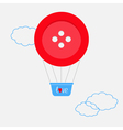 Hot air balloon made of big red button Dash line vector image vector image