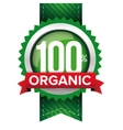 Hundred percent organic green ribbon vector image vector image