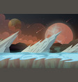 ice rocks on galaxy planet landscape vector image