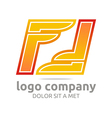 letter f alphabet orange company foot design vector image