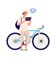 man search gps navigation bike rider with tablet vector image vector image