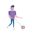 man walking with little dog isolated icon white vector image vector image