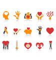orange color charity icons set vector image vector image