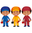 Plumbers in different color uniform vector image vector image