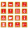 plumbing icons set red vector image