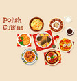 polish cuisine icon with meat and vegetable dish vector image vector image