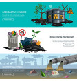 pollution ecology flat banners vector image vector image