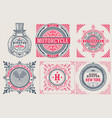 retro cards set elements layered vector image vector image