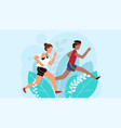 running people athletic man and woman cartoon vector image vector image