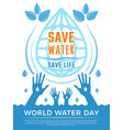 save water aqua liquid drops healthcare poster vector image