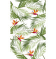 seamless pattern palm leaves with bird of vector image vector image