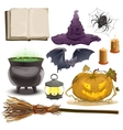Set Halloween objects accessories Pumpkin vector image vector image