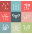 set line butterfly logos and icons vector image