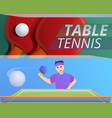 table tennis banner set cartoon style vector image vector image