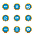 taxi center icons set flat style vector image vector image