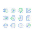 technology icons set included icon as idea get vector image vector image