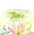watercolor with floral happy Thanhsgiving card vector image vector image