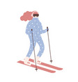 woman in snowsuit skiing girl on skis or vector image