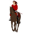 woman riding horse vector image vector image